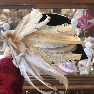 Vintage Accessories - Black Velvet Real Feather Plumes Opera Hat Vintage